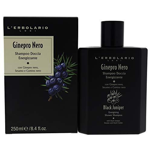 L Erbolario, Doccia Shampoo Energizzante Ginepro Nero, Detergente per Corpo e Capelli, 250 ml