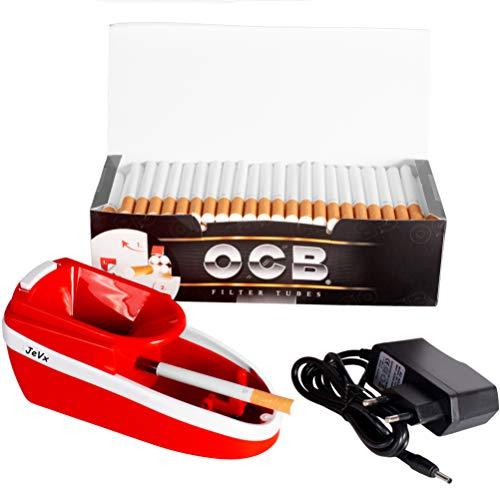 JeVx Maquina Liadora de Tabaco + 200 Tubos con Filtro OCB - Entubador Electrico para LLenado de Cigarros Entubar Cigarrillos de Fumar entubadora Electrica para liar (Rojo)