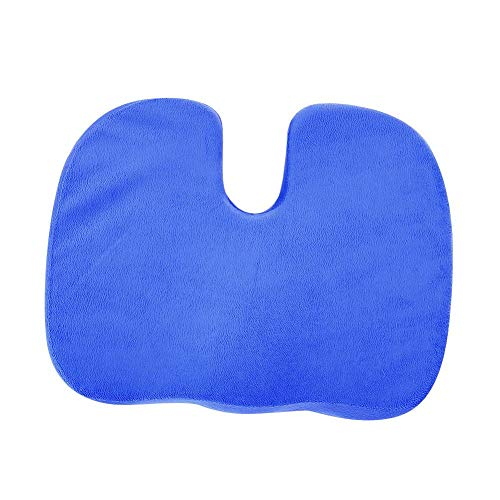 DOACT Cojín de Silla con Forma de U de Espuma viscoelástica Coxis Cojín ortopédico Lumbar Almohada Alivio del Dolor para aliviar la Espalda, el Dolor de ciática Coche de Oficina(Azul)
