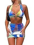 Vestidos de Mujer Bodycon Y2K Vestido Midi sin Mangas con Cuello Halter Vestido sin Mangas de Playa sin Espalda E Girl Party (Blue Suit Set, Small)