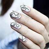 Edary 24pcs False Nails Geometric Lines Full Cover Abstract Theme Image Press on Fake Nails Art for Women
