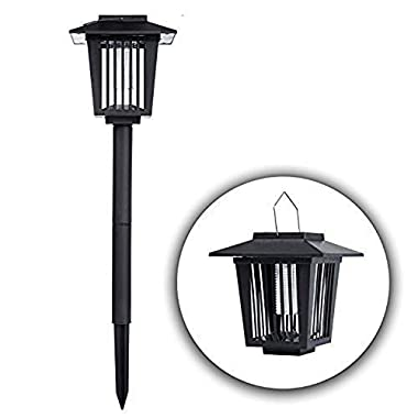 POPUD Solar Powered Bug Zapper Light, Kpest Solar Mosquito Killer Insect Killer Indoor Outdoor Fly Pest Trap Lamp Portable Garden Lawn Light For Residential, Commercial and Industrial Use (black1)