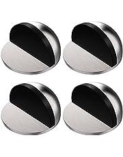 4 stuks roestvrij stalen vloerdeurstop, ovale vloergemonteerde halve maan deurstop, magnetische deurstop met 3M lijmen, zelfklevend, bespaart uw muren van schroeven schade