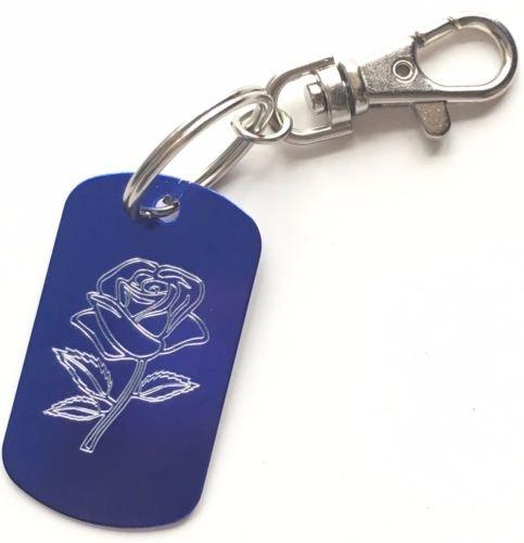 personnalisé gravé Valentine Rose Bleu Porte-clés... (Zrose)