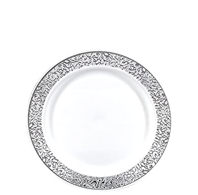 "Gourmet Home Products 12 Count Premium Heavy Weight Reusable Plastic Dinner Plates, 10.5"", White/Silver"