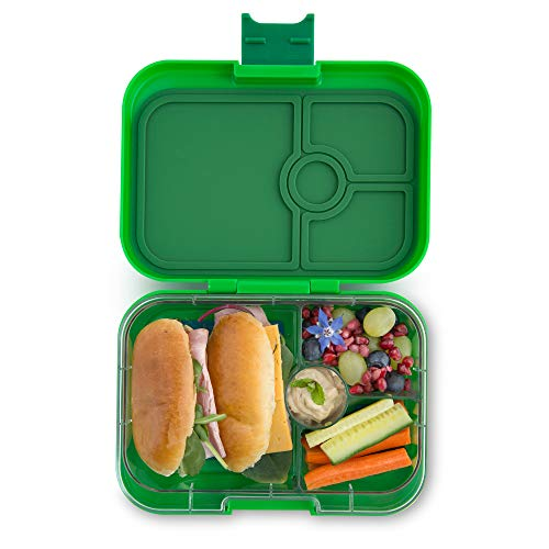 Yumbox Panino M Lunchbox - 4 Fächer, mittelgroß (Terra Green) | Brotdose mit Trennwand Einsatz | Brotbox für Kindergarten Kinder, Schule, Erwachsene