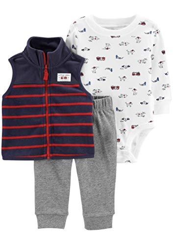 Carter's(カーターズ) 男の子 乗り物&ワンちゃん ベスト、長袖ボディスーツ、パンツ 上下3点セット 24months(83-86cm) [並行輸入品]