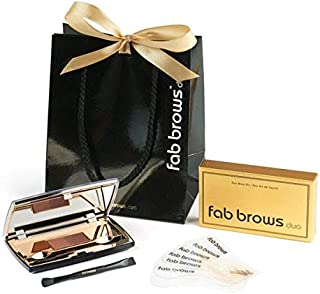 Fab Brows Duo Eyebrow Kit - Light / Medium Brown Makeup Kits Eye Brow Stencil Contour Palette Cosmetics Powder for Women