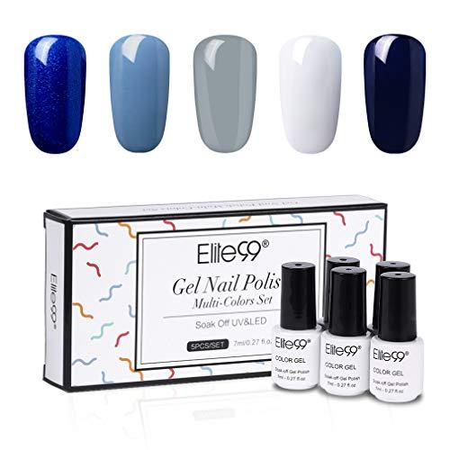 Elite99 One Step Gel Polish Kit, Ein-Schritt UV Nagellack Geschenk Kit, 5Stück Gellacke Starter Kit für Anfänger, Set003