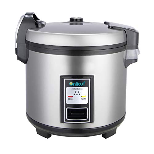 Onlicuf Commercial Electric Stainless Steel Rice Cooker 60-Cup Cooked (30-Cup UNCOOKED) 1350W for Restaurant