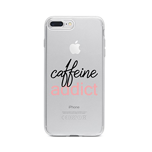 [Upgraded] iPhone 8 Plus Case, iPhone 7 Plus Case with Quotes, Milkyway Cases Clear Soft Flexible TPU Silicone Back Cover for iPhone 8+, iPhone 7+ [Supports Wireless Charging] - Caffeine Addict