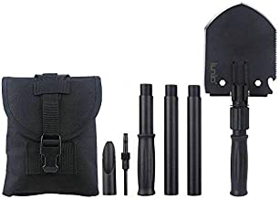 iunio Folding Shovel, Portable, Camping Multitool, Foldable Entrenching Tool, Collapsible Spade, for Backpacking, Trenching, Hiking, Survival, Car Emergency (Premium E-Tool)
