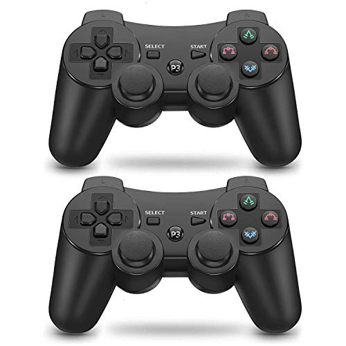 PS3 Controller Wireless Bluetooth Gamepad für PlayStation 3 Dual Vibration Game Controller Fernbedienungen Sixaxis Wireless PS3 Controller mit Ladekabel (2 Schwarz)