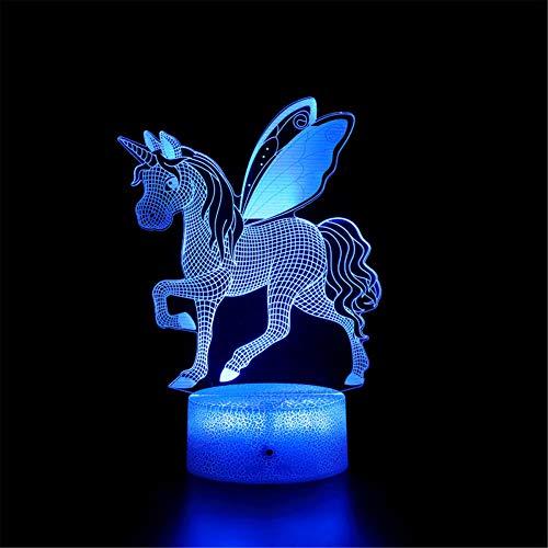 Unicorn G - Lámpara 3D de Ilusión 3D, lámpara de mesa táctil, lámpara de escritorio para dormitorio de niños, cargador USB, bonito regalo para cumpleaños, Navidad, día de San Valentín