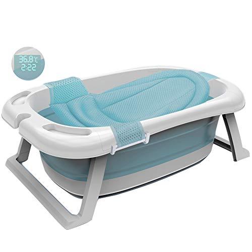 GSYYSZD Baby-Badewanne, tragbare Klappplatzsparende Badewanne Wassertemperatur Digitalanzeige mit hängenden net Wanne