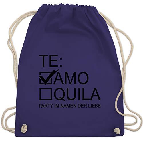 Shirtracer JGA Junggesellenabschied Frauen - Teamo/Tequila - schwarz - Unisize - Lila - Party - WM110 - Turnbeutel und Stoffbeutel aus Baumwolle