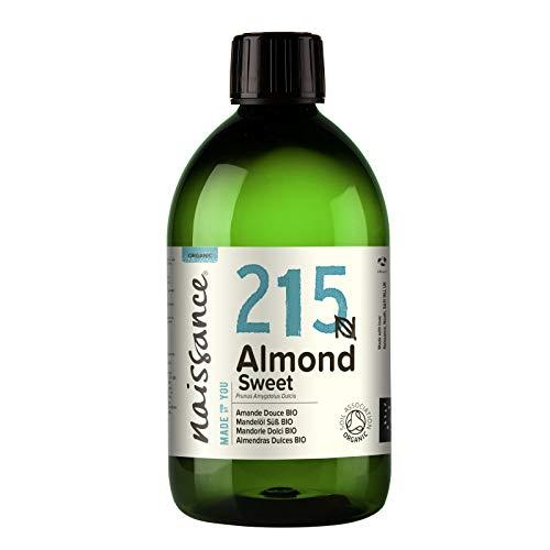 Naissance Aceite de Almendras Dulces BIO n. º 215-500ml - Puro, natural, certificado ecológico, prensado en frío, vegano, sin hexano, no OGM para humectar y equilibrar la piel.