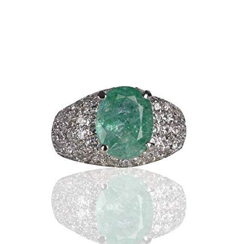 Hermoso Anillo Esmeralda Verde Plata de Ley 925 Joya Cortada Oval Esmeralda Verde Colombiana Anillo de Piedra de Mayo