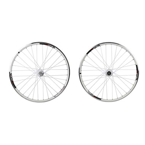 SN Outdoor Mountain Bike Bicycle Wheelset 26 Inch, Double Wall MTB Rim Quick Release Bike V Brake Disc Brake Hybrid 7 8 9 10 Speed 32 Holes Training (Color : White, Size : 26inch)
