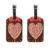 Lot de 2 Etiquettes à Bagages Valentine Heart Lollipops Valise Etiquettes Accessoire de Voyage