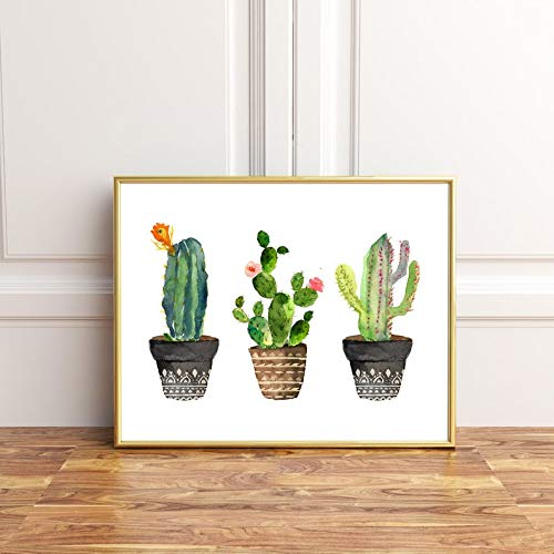 Yilooom Aquarell-Kaktus-Druck, Kaktusmotiv, 3 Kaktus-Kaktus-Kunstwerke, Kaktus-Motiv, Kaktus-Poster, Kakteen, Holz, Multi, 40X50CM