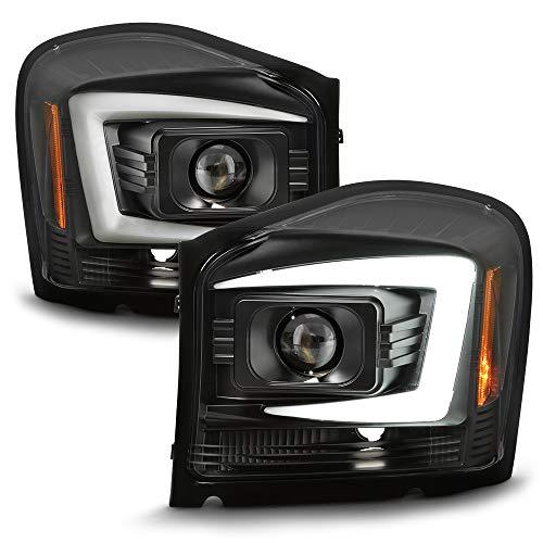 ACANII - For 2004-2006 Dodge Durango Black Housing LED Light Tube Projector Headlights Headlamps Assembly Set Left+Right