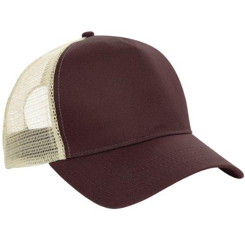 Gorra de béisbol de malla de marca Beechfield Chocolate / caramel Talla única