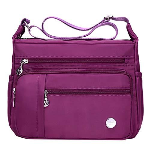 Lazzboy Femme Sac à bandoulière Messenger Bag Nylon Étanche Toile Sac Couleur unie Simple Fermeture éclair Structure multicouche