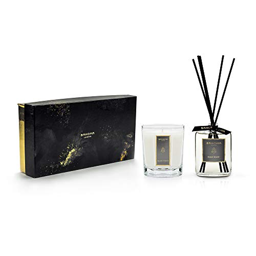 bahoma Black Obsidian Collection Duftkerze achteckig & 100 ml Raumduft-Diffusor in Geschenkbox: Silent Night