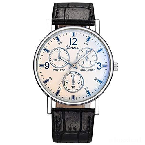 TIREOW Round Mode Business Armbanduhren für Männer, Einfaches Leder Armband Herrenuhr Frauen Uhr Geschenk für Männer Vater (B)