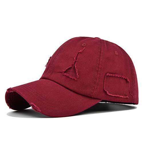 PHILSP Gorra de béisbol Gorra de béisbol Lavada Vintage Sombrero de Camionero de Color sólido con Parche de Agujero Roto Desgastado Rojo Vino