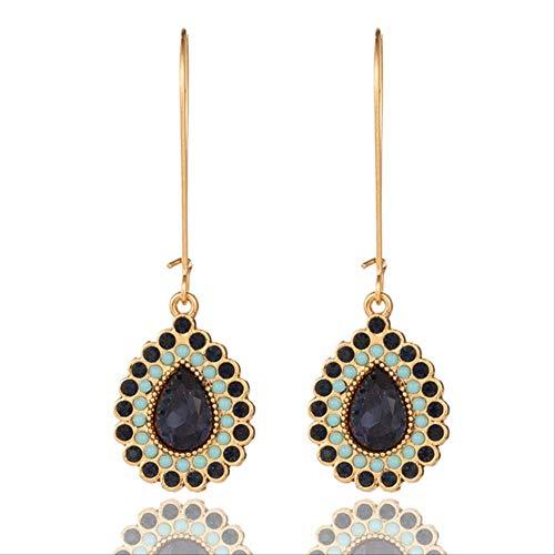 Boucle d'oreille Dangle classique Boho Indain strass goutte d'eau longues boucles d'oreilles pendantes pour femme et fille Memorial Day accessoires bleu