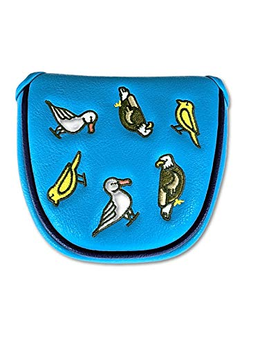 E9GOLF : Fore The Birds Mallet Putter Cover - Fits Mallet Style putters from Ping, Scotty Cameron, Odyssey (Blue)