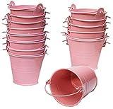 Amajoy Paquete de 30 cubos de metal rosa con bolsa transparente, caja de caramelos, cubos de regalo, cubos para regalo de boda, fiesta, recuerdo de baby shower