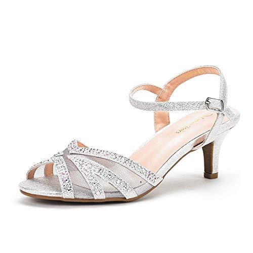 DREAM PAIRS Women's Nina-166 Silver Low Heel Pump Sandals - 5 M US