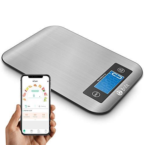 Brifit Digitale Küchenwaage, Digitale Kaffeewaage mit Timer, 5KG/1g Küchenwaage mit Bluetooth, Intelligente Nährwert-Analysewaage mit Ernährungsrechner für Keto, Makro, Kalorien, Protei