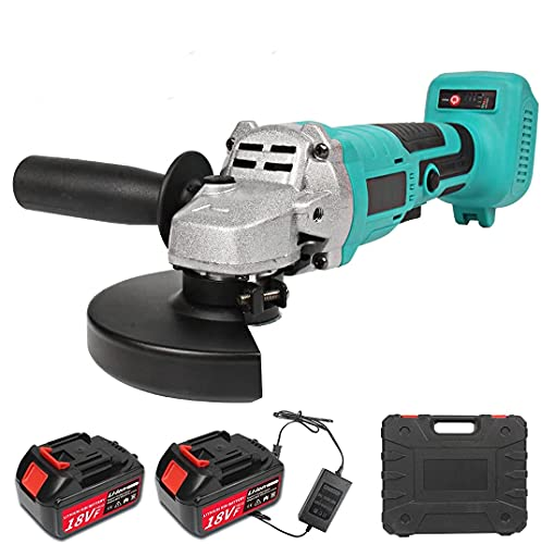 YASSIMY 125mm Cordless Angle Grinder, 18V Brushless Angle Grinder with 2 Rechargeable Batteries, Plug Charger and Carrying Case
