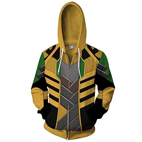 AEMUT Coat Stampa Costume Cosplay con Cappuccio da Uomo Marvel Avengers Zipper Felpa Loki 3D a Manica Lunga con Cappuccio Giacca Tops,A-XL