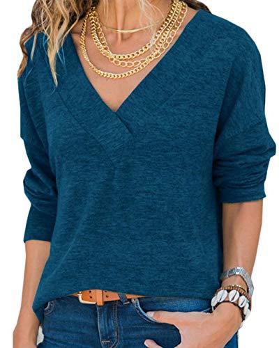 Hiistandd Damen Shirt V-Ausschnitt Tops Casual Langarmshirt Gestrickt Einfarbig Oberteile (Blau, S)
