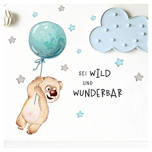 Little Deco Sticker Spruch sei wild & Teddybär I Wandbild 123 x 62 cm (BxH) I Luftballon Wandtattoo Kinderzimmer Junge Tiere Wandbilder Deko Babyzimmer Kinder DL315