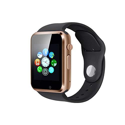 Generisch PromoTech A1 Smartwatch Bluetooth 3.0 1.54 inch Touchscreen GSM/GPRS SIM-Karte. Für Android und iOS. (Black/Gold)
