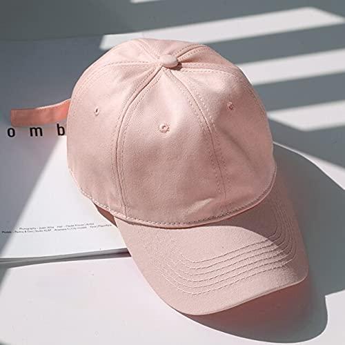 Cotton Baseball Cap for Men and Women Solid Color Snapback Hats Summer Sun Caps Casual Dad Hat Unisex Cap-Pink-Adjustable