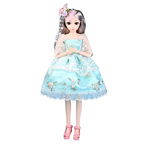 Fashion Girl Joints Doll, 1/4 Scale Ball Dolls 18 Inch Articulated Fully Poseable Doll with Clothes Outfit Shoes Wig Makeup 3D Simulation Dress Up Toy Soft Body Cuddle Best Gift for Girls (Elina)