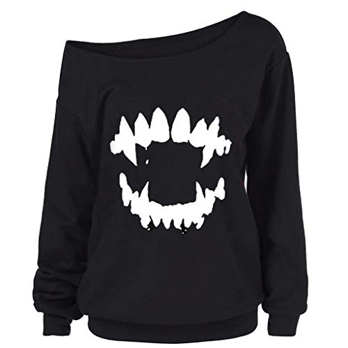 SSUPLYMY Damen Sweatshirt Halloween Gedruckt Skew Kragen Bluse Shirt Langarmshirt Streetwear Kapuzenpulli Bluse Tops Frauen Halloween Gothic Langarm O-Ausschnitt Gedruckt Top