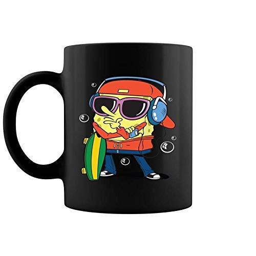 N\A Bob Esponja Patinador con Sombrero Taza de café