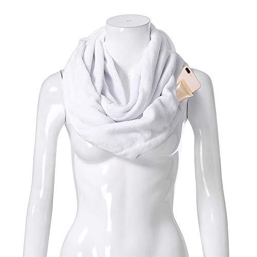 Y56 Damen Mode Loop Zipper Pocket Reißverschluss Geheimtasche Schals Halstücher Weihnachten Cabrio Infinity Winter Warme Kuscheldecke Plüsch Schal Geschenke Familie Mädchen Frau Mama Freundin (Weiß)