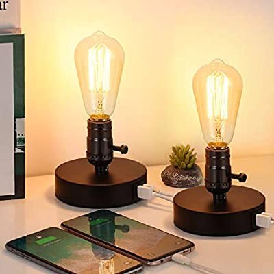 HAITRAL Set of 2 Vintage Table Lamp with 2 USB Ports,Industrial Small Bedside Desk Lamp for Bedroom, Office, Living Room, Black (Without Bulb)