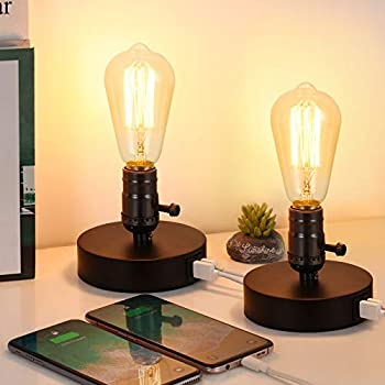 HAITRAL Set of 2 Vintage Table Lamp with 2 USB Ports,Industrial Small Bedside Desk Lamp for Bedroom Office Living Room Black  Without Bulb
