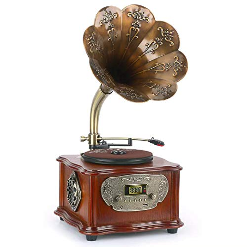 Wooden Phonograph Gramophone Turntable Vinyl Record Player Speakers Stereo System Control 33/45 RPM FM AUX USB Ouput Bluetooth 4.2