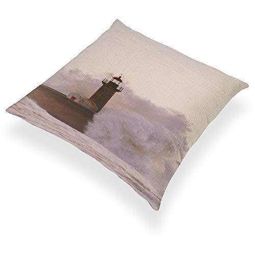 DKE&YMQ Funda de almohada de lino y algodn ligero, cuerpo de agua lquido torre atmosfrica fenmeno lquido